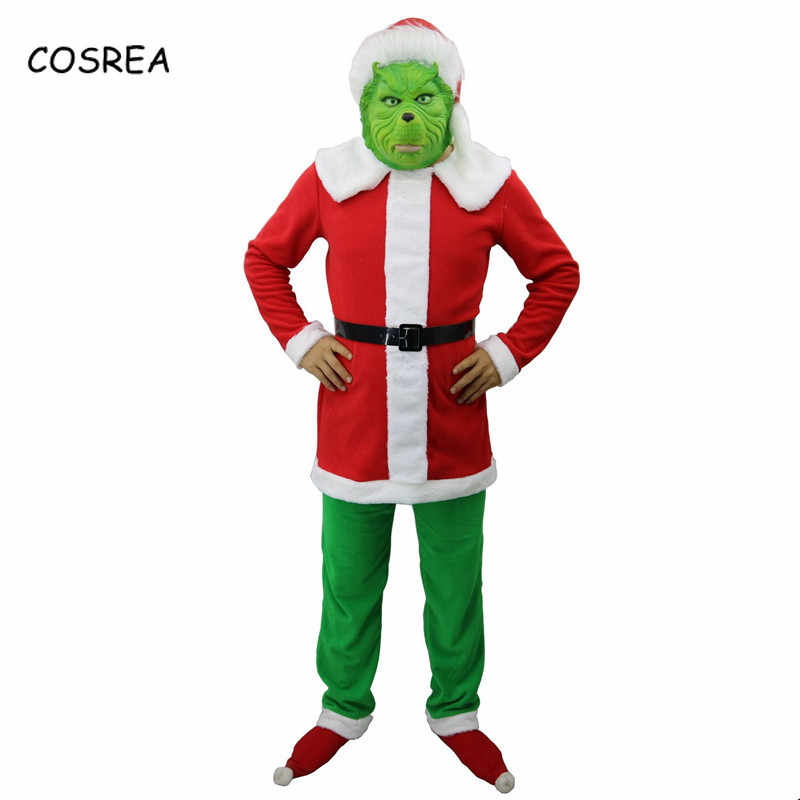 How The Grinch Stole Christmas Costumes.The Grinch Christmas Clothes Cosplay Hat Top Pants How The Grinch Stole Christmas Costumes Hair Latex Full Face Women Adult
