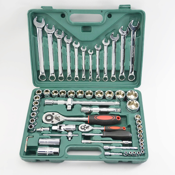 61 pcs /set Socket Wrench Set Spanner Car Repair Tool Car Ship Machine Repair Service Tools Kit with Heavy Duty Ratchet