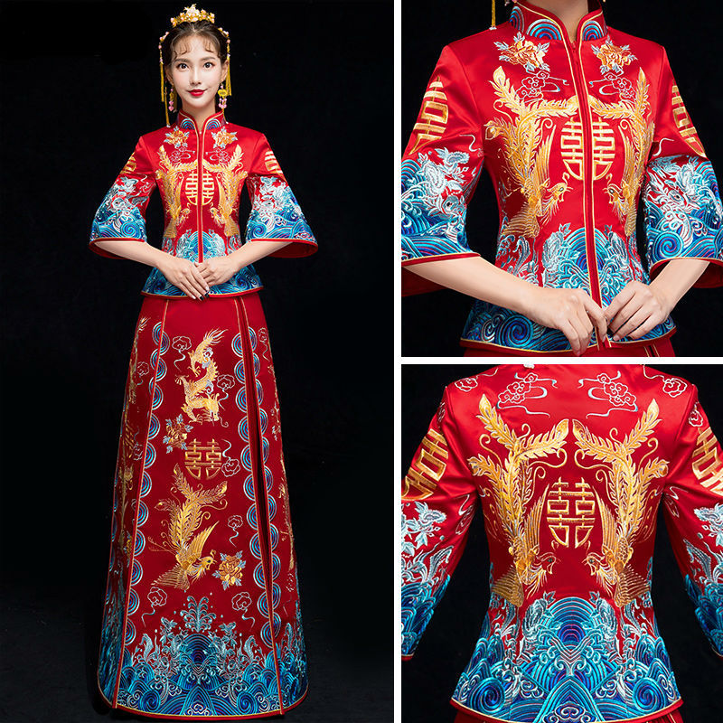 Traditional Chinese Wedding Gown Dress Women Cheongsam Blue Embroidery Dragon Phoenix Qipao Oriental Party Dresses Red Qi Pao