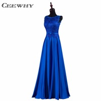 Blue Embroidery Formal Occasion Dress Robe De Soiree Bride Banquet Evening Party Dresses A Line Prom