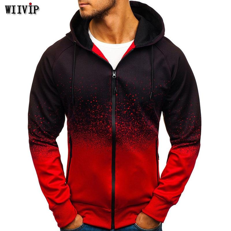 Men Hoodie 2019 New Long Sleeve Hoodies Men Zipper Sweatshirt Hoody Mens Hooded 3D Printed Plus Size Coat Jackets 361