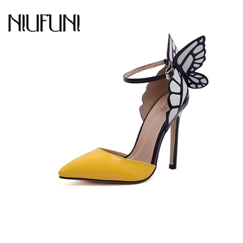 NIUFUNI 2020 Butterfly Wings Summer Pointed Toe Pumps Women Shoes Thin Heel High Heels Spell Color Sandals stylesowner mesh crystal bling high heel pumps summer hollow out thin high heels pointed toe wedding shoes for lady size34 43eu