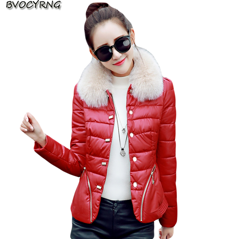 New Autumn Winter Women Fox Fur Collar Short PU   Leather   Clothing Fashion Slim Girls Thickening Down Jacket Warm Cotton Paka Q723