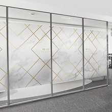Marble window film Stained line frosted glass sticker electrostatic office PVC Self-adhesive Custom size decorative vinile films