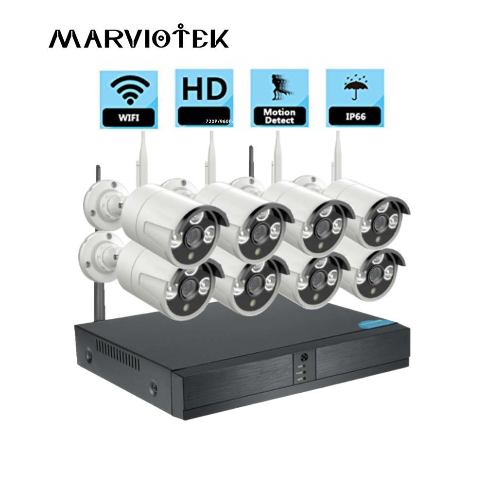 8CH DVR CCTV Camera System 720P ip camera wifi nvr kits Outdoor Waterproof Video Surveillance Wireless Security Camera System IR