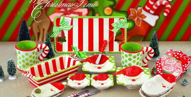 Mud pie christmas series hand painting ceramic dinnerware table ...