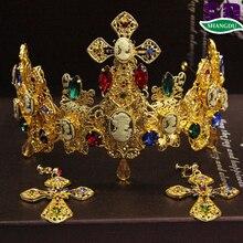 Золотой цветные стразы корону королевы театральный реквизит свадебные украшения для волос фотографировал барокко королева красоты короны и диадемы