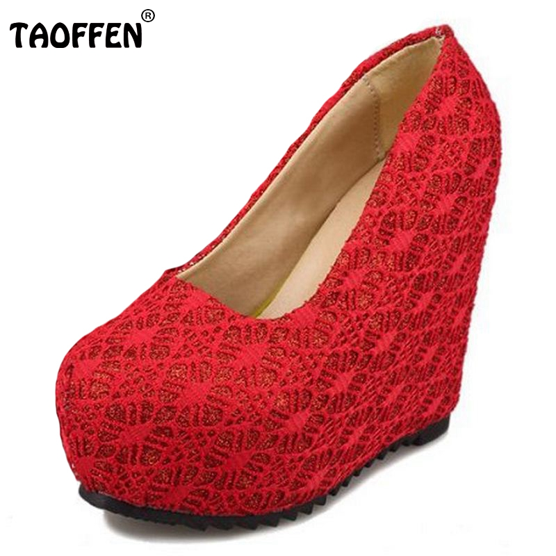 TAOFFEN Women Round Toe Wedges Shoes Woman Fashion Shallow Mouth Platform Heels Pumps Lady Sexy Wedding Shoes Size 35-39 Z00294 e hot sale wholesale 2015 new women fashion leopard flat shallow mouth shoes lady round toe shoes