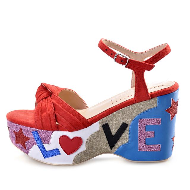 Ladies Wedge Multi Color Sandals