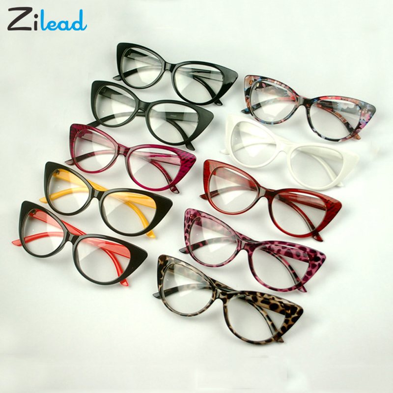 Zilead Retro Cat Eye Clear Lens Spectacle Frame Brand Women Blue-ray Optical Eyewear Frame Myopia Lens Women Frame Plain Glasses