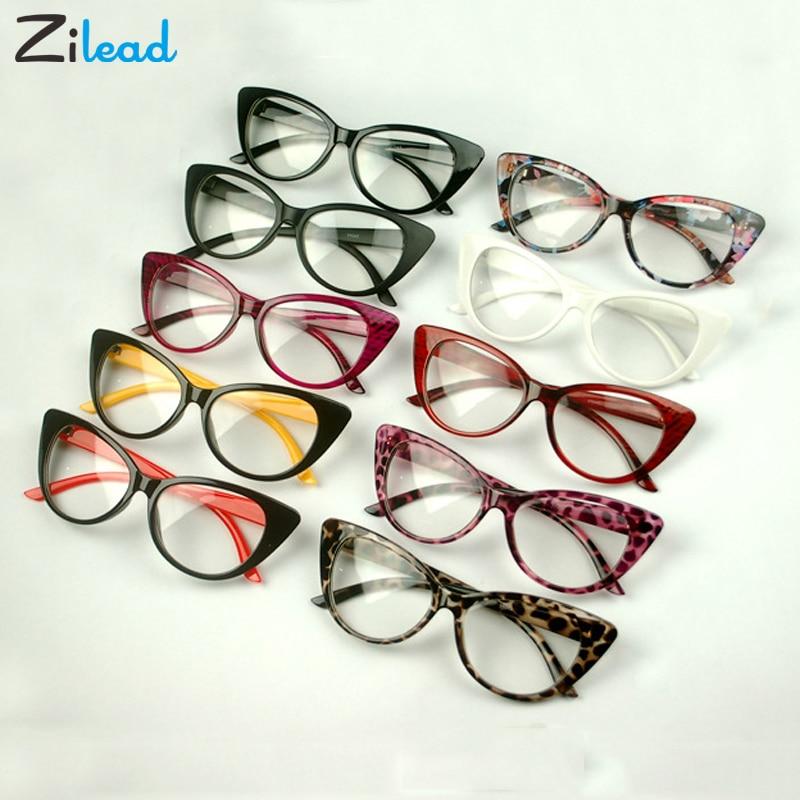 Zilead Retro Cat Eye Clear Lens Spectacle Frame Brand Women Blue-ray Optical Eyewear Frame Myopia Lens Women Frame Plain Glasses