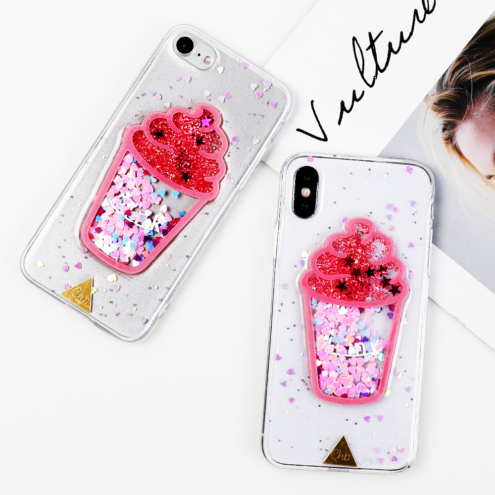 3D Cute Ice Cream Phone Iphone XR XS MAX X 6 6S 7 8 Plus Soft TPU Epoxy Shining Sequins Phone Back Cover Coque