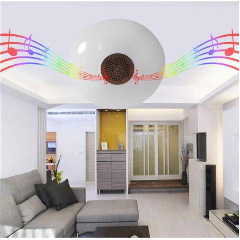 E27 חכם מנורת תקרת אור Bluetooth רמקול LED נורות UFO גבוהה כוח 24 W מוסיקה משחק צבעוני RGB עם 24 מפתחות מרחוק Contrl