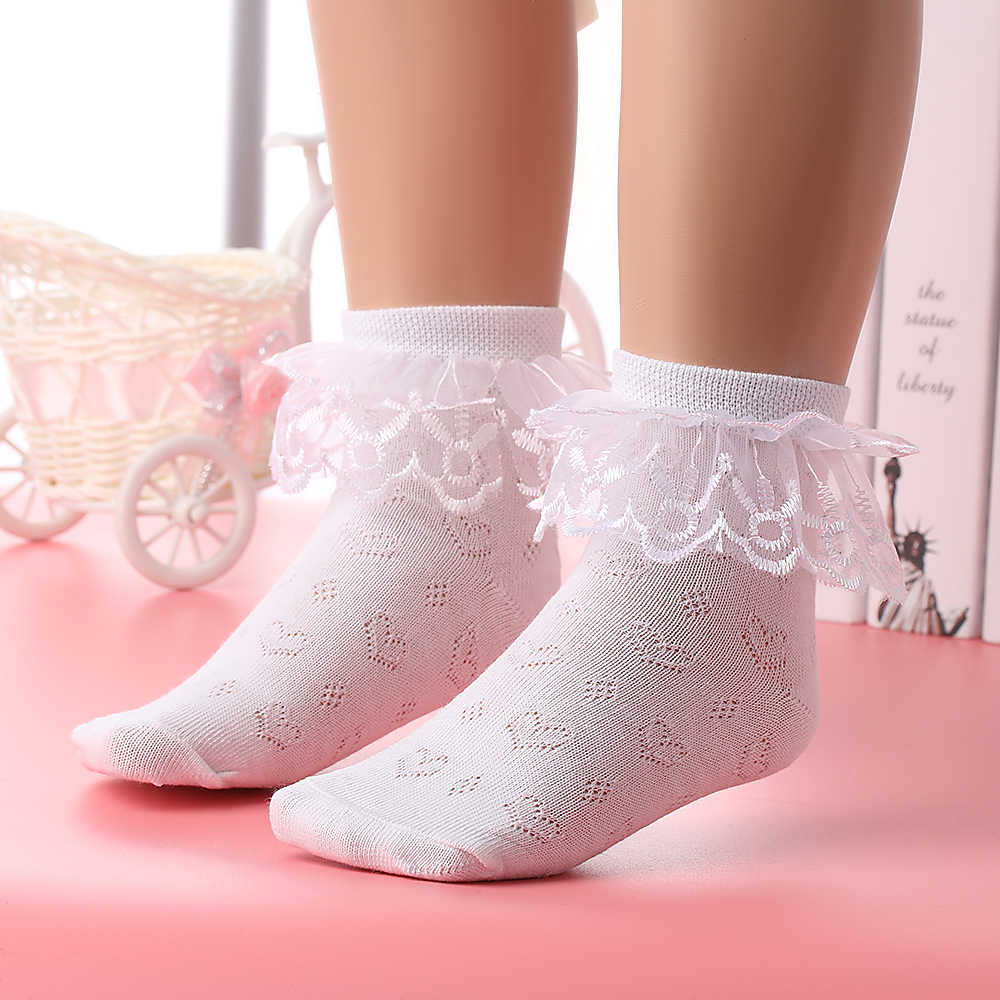 Spring Summer 2-4 Y Children Breathable Short Ankle Socks Baby Toddler Kids Girls Soft Cotton Lace Ruffle Princess Mesh Socks