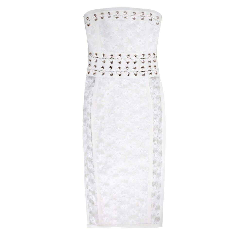Dentelle Robes Celebrity 2018 Blanc Party Bretelles Robe Femmes Moulante Sexy Summer Bandage D'été Sans New Xqq0Aw1U