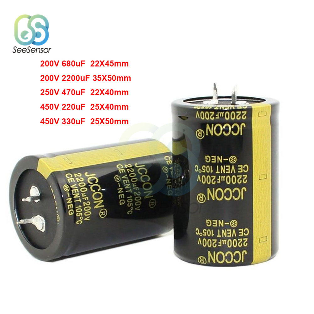 <font><b>200V</b></font> 250V 450V Electrolytic Capacitor <font><b>220uF</b></font> 330uF 470uF 680uF 2200uF for Audio Amplifier Inverter Power image