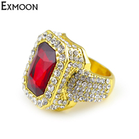 EX MOON Mens Gold Color Hip Hop Style Full Crystal Rhinestone Ring Female Iced Red