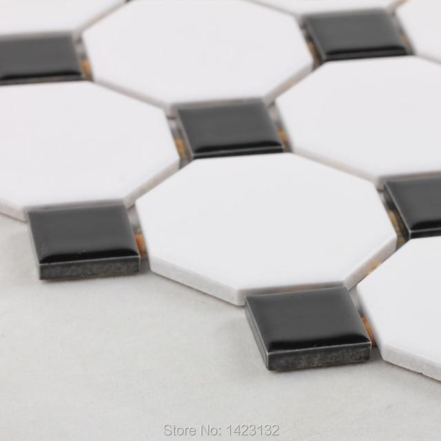 Glazed Porcelain Tile Flooring Black White Blend Porcelain Mosaic - Porcelain or ceramic tile for bathroom floor