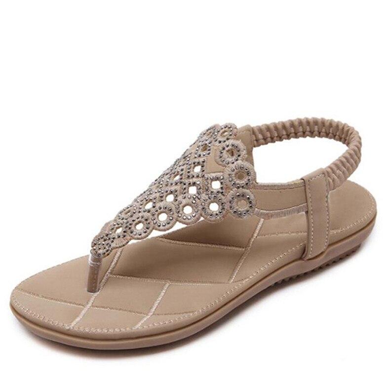 nuevo estilo d1ff0 851cc US $11.49 50% OFF|TIMETANG Gladiator sandals women blossom bohemian flat  sand sandalias plataforma 2018 large size beach shoes Women sandals-in ...