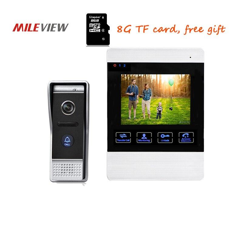 Free Shipping 800TVL 4.3 Screen Video Intercom Door Phone Record System + Waterproof Door bell Camera 110 Angle Unlock Monitor