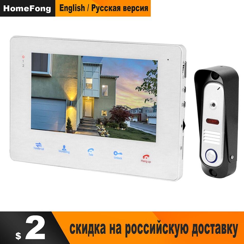 HomeFong Vidéo Porte Téléphone Porte Interphone pour La Maison 7 pouces Moniteur D'intérieur En Plein Air caméra de sonnette Filaire Vidéo interphone Kit