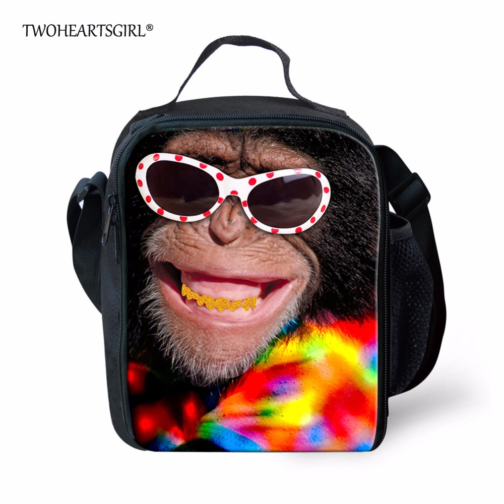TWOHEARTSGIRL Cool Orangutan Lunch Bag for Teen Boy Girls Insulated Youth Women Portable Food Bag Small Kids Picnic Bag Harness