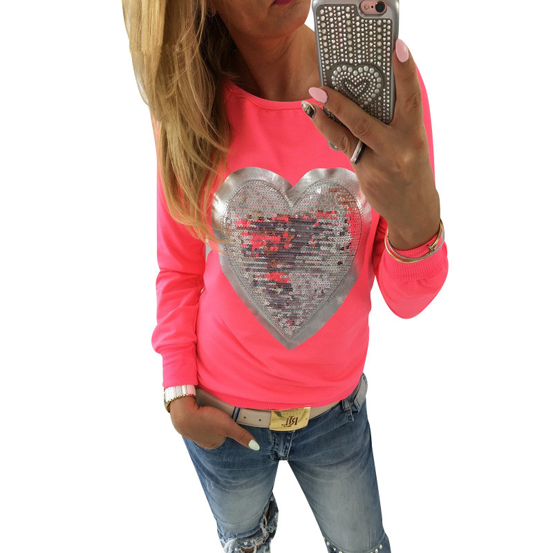 6c1a5cef0bb3d4 5pcs lot Carol Diaries Heart Sequins T-shirt Neon Color Round Neck Long  Sleeve Casual Cute Women Shirt Pullover Female Clothes