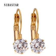 Brincos stud de cristal de aço inoxidável, para mulheres, cor dourada, zircônio, festa, casamento, joias, dropship