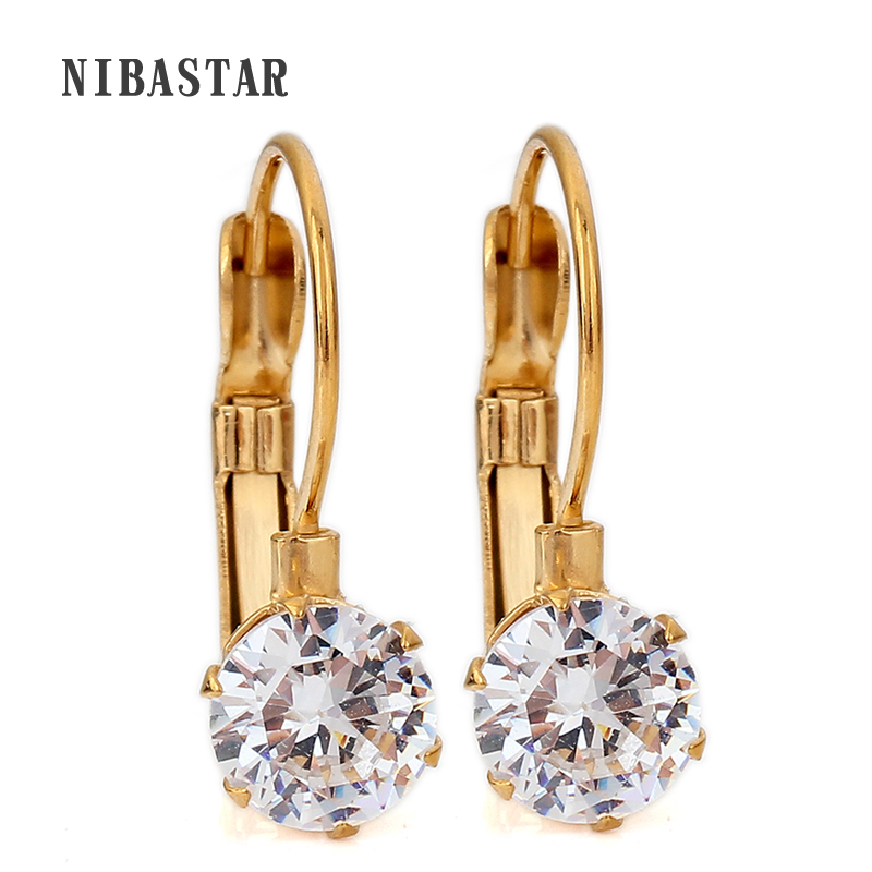 Stainless steel Crystal Stud Earrings For Women Fashion Gold Color Zircon Party Wedding Jewelry Dropship