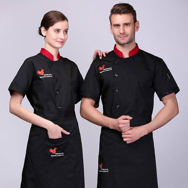 Chef Jacket Summer Short Sleeve Food Service Breathable Single-breasted Chef Uniform Hotel Restaurant Cafe Kitchen Tooling Tops