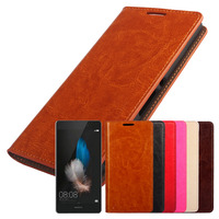 P8 Lite Coque Huawei P8 Lite Genuine Real Flip Leather Case Protective Cover Fundas Brown Black