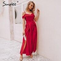 Simplee Sexy off shoulder women jumpsuit romper Elegant high waist red jumpsuit long Summer wide leg lady playsuit overalls 2019