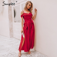Simplee Sexy off shoulder women jumpsuit romper Elegant high waist red jumpsuit long Summer wide leg lady playsuit overalls 2019