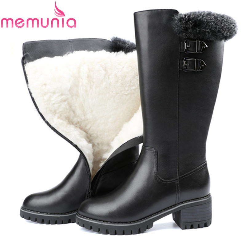 MEMUNIA fashion women boots round toe genuine leather boots zipper square heel wool keep warm cow leather mid calf boots spring black coffee genuine leather boots women sexy shoes western round toe zipper mid calf soft heel 3cm solid size 36 39 38