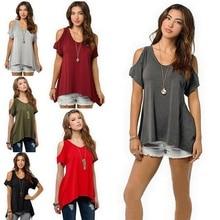 цена на S-5XL women v neck off shoulder short sleeve tops t shirt casual leisure tops t shirt spring summer t-shirt
