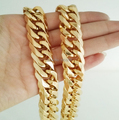 12mm 23.6'' Pure  Gold Plated Stainless Steel Double Curb Link Necklace Chain  Cool Men's Strong  Jewelry