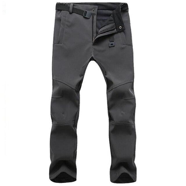 חורף מכנסיים גברים להאריך ימים יותר צמר מעטפת רכה תרמית מכנסיים Mens מזדמן סתיו עבה למתוח עמיד למים צבאי טקטי מכנסיים