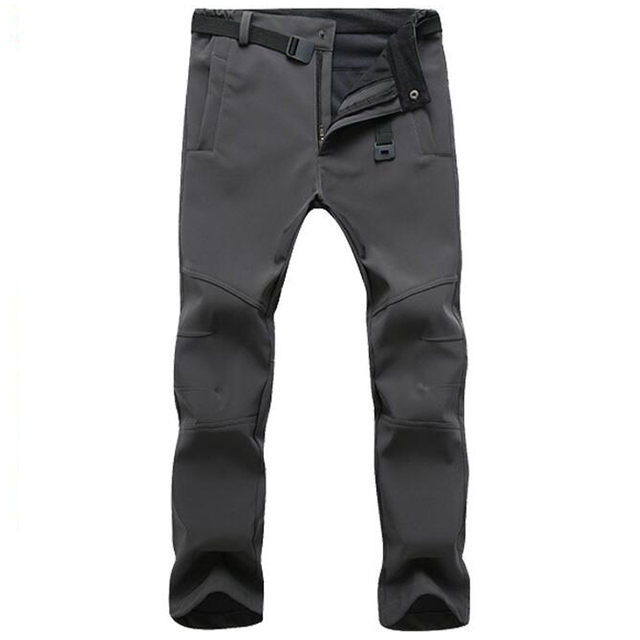 Winter Pants Men Outwear Soft Shell Fleece Thermal Trousers Mens Casual Autumn Thick Stretch Waterproof Military Tactical Pants