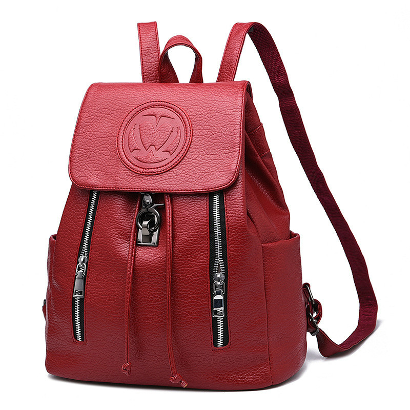 2017 New Arrivals Bags for Women Concise Leisure Fashion Occident Style Backpacks Solid Color Wine Red
