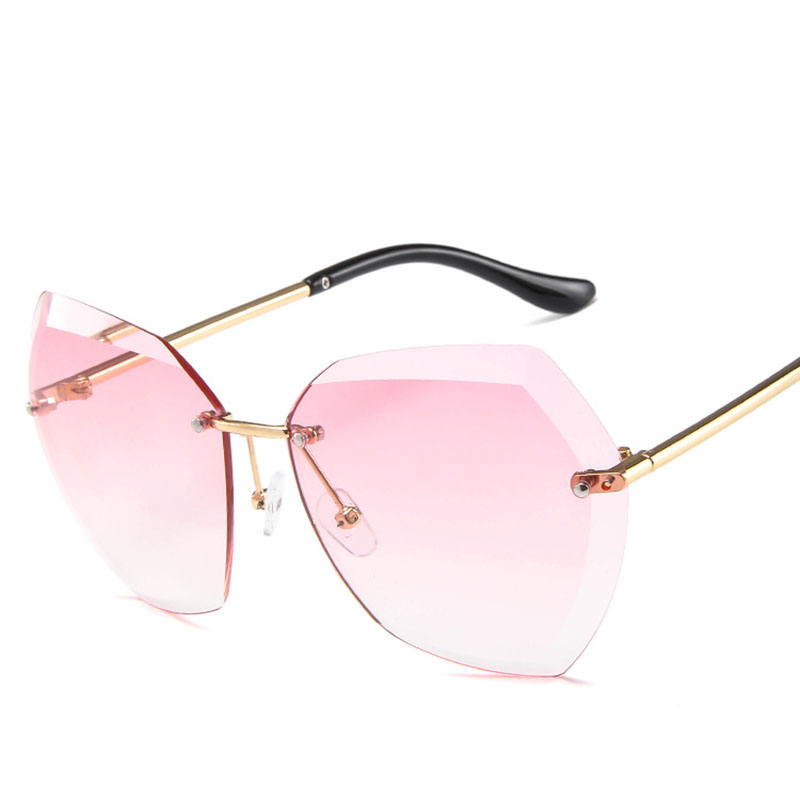 2019 New Rimless Ocean Pink Yellow Sunglasses Women Brand Designer Crystal Side Metal Legs irregular Sun Glasses Eyewear in Women 39 s Sunglasses from Apparel Accessories