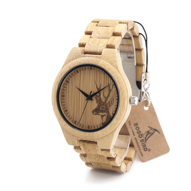 Bobo bird d28 casais relógio de madeira de bambu com alça de madeira de quartzo analógico com qualidade miyota movimento tri-dobre clasp