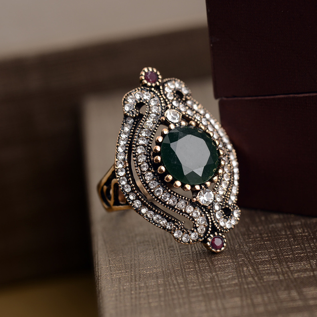 European style fashion jewelry wholesale Bohemia alloy hollow CZ Diamond Ruby Ring Opening