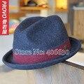 Invierno de Lana Sentía Fedora Sombreros Para Hombres PWFE-008 Encabezamiento Masculino Sombreros de Panamá Trilby Jazz Cap Envío Gratis