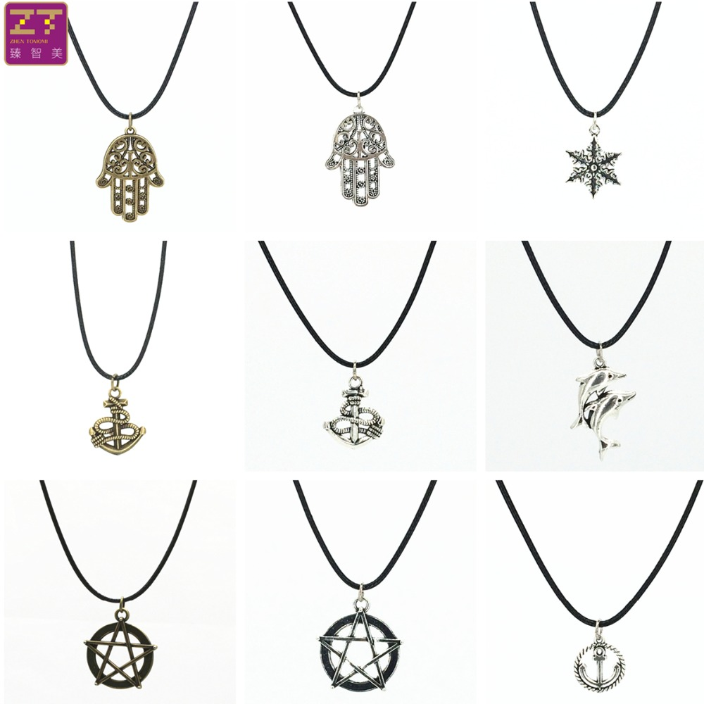 Hot Fashion retro anchor dolphin five-pointed star snowflake Hand pendant necklace leather cord necklace for Women 2016 Jewelry