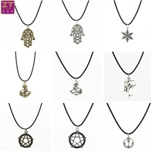 Hot new Chokers Necklaces retro Anchor dolphin five-pointed star Snowflake Hand pendant necklace Women 2016 Jewelry Bijoux