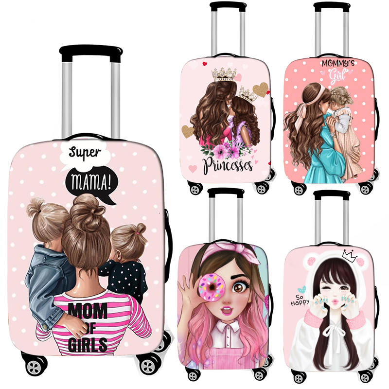 Cartoon Girls / Super Mom Print Luggage Cover Travel Accessories Trolley Case Baggage Protective Covers Anti-dust Suitcase Cover
