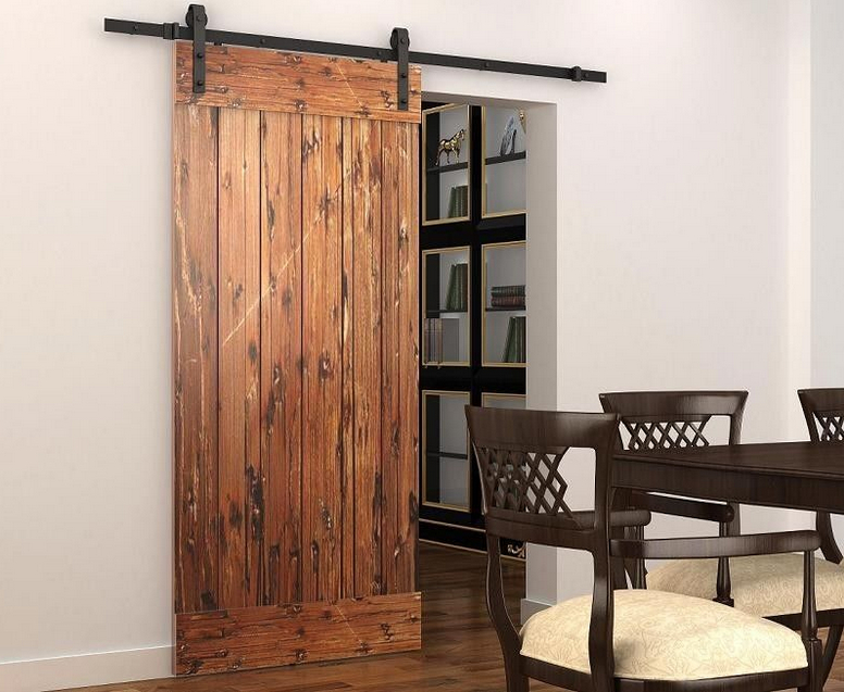DIYHD 5ft-8ft Soft Close Single Door Sliding Barn Door Track System Barn Door Roller With Soft Close Mechanism