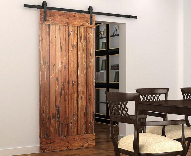 DIYHD 5ft 8ft Soft Close Single Door Sliding Barn Door Track System Barn  Door Roller