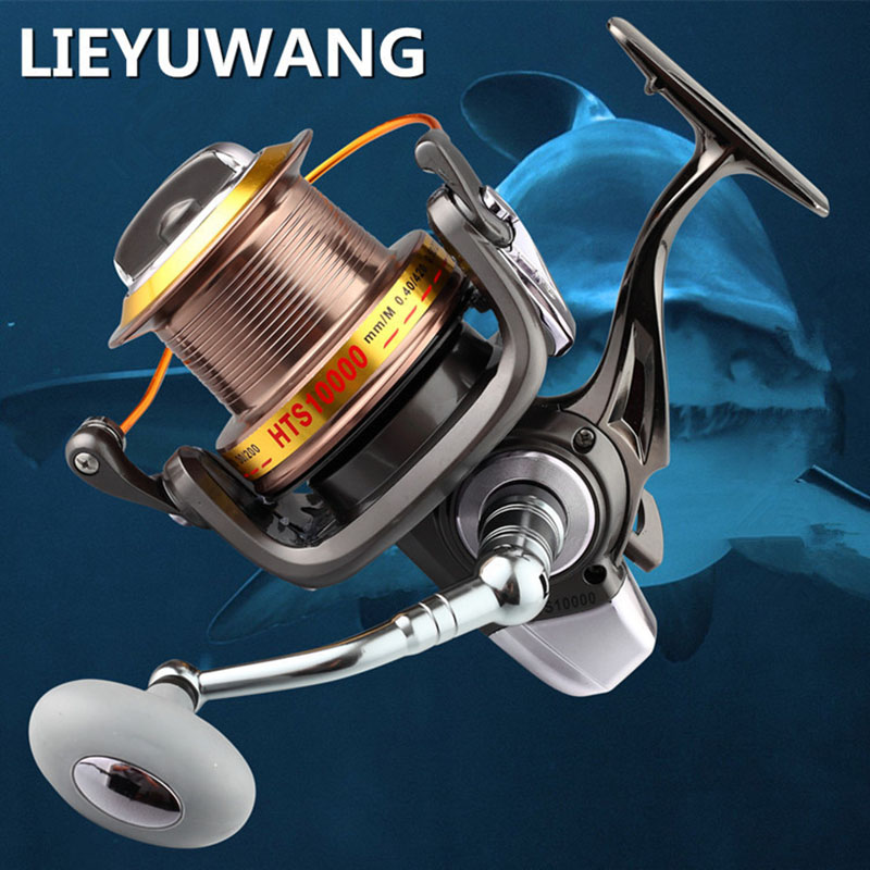 LIEYUWANG Full Metal 12+1BB 10000Series Surf Spinning Fisihng Reels Big Long Shot Casting Fly Sea Wire Cup Wheels Aluminum Spool high quality metal spool 12 1bb 3000 9000 series surf spinning fishing reels long shot casting fly sea wire cup wheels
