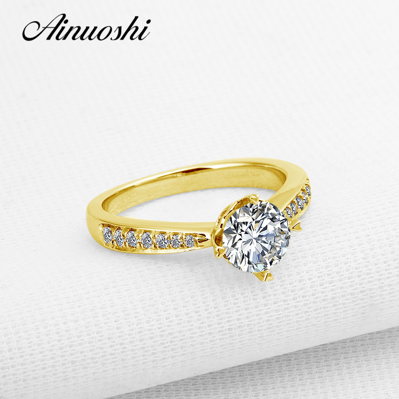 AINUOSHI 10K Solid Yellow Gold Women Wedding Ring 1 CT Round Cut Simulated Diamond Bague Joyas de oro 10k Bridal Engagement Ring ainuoshi 10k solid yellow gold wedding ring 2 ct round cut simulated diamond anel de ouro female wedding rings for women gifts